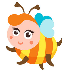 Cute bee cartoon flying isolated vector