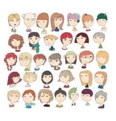 Cute with girls heads fun vector image vector image