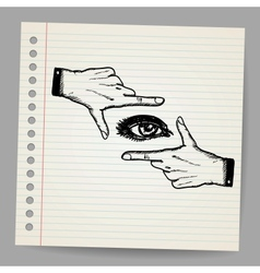 Doodle of two hands and eye being used to frame a vector