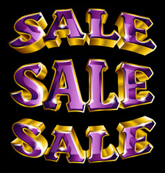 gold shiny 3d like sale text vector image