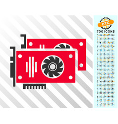 Graphic accelerator cards flat icon with bonus vector
