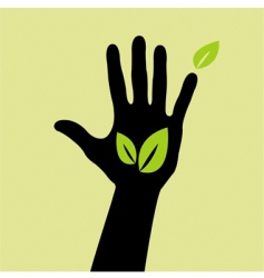 hand with leaf vector image vector image