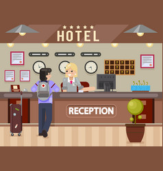 Hotel girl receptionist answers questions traveler vector