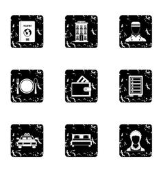 Hotel icons set grunge style vector image