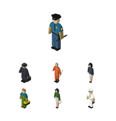Isometric people set of detective seaman plumber vector