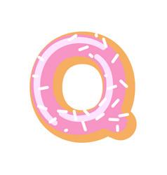 Letter q donut font doughnut alphabet sweet vector