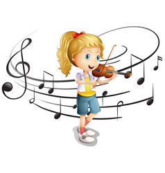 Little girl plays violin vector