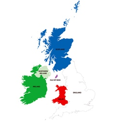 Map of the United Kingdom and Ireland vector image vector image