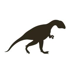 Monochrome silhouette with dinosaur allosaurus vector