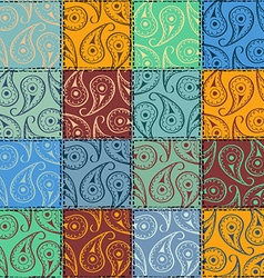 Paisley seamless pattern of patchworks vector