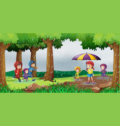 park scene with children in the rain vector image