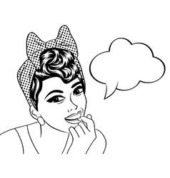 Pop art cute retro woman in comics style in black vector