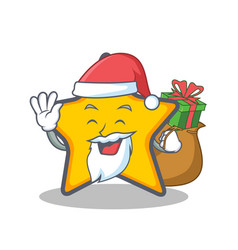 Santa with gift star character cartoon style vector