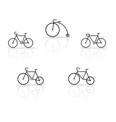 Set of bicycle silhouettes on a white background vector