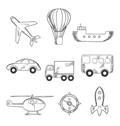 Travel and transport sketch icons vector