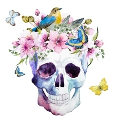 Watercolor skull with flowers vector image