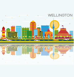 wellington skyline with color buildings blue sky vector image