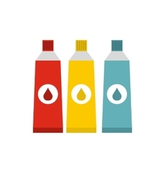 Three tubes with colorful paint icon flat style vector
