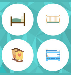 Flat mattress set of crib bunk bed bed and other vector
