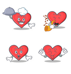 set of heart character with chef trumpet surprised vector image