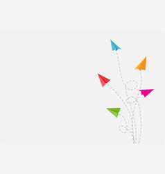 abstract background with paper airplane changing vector image