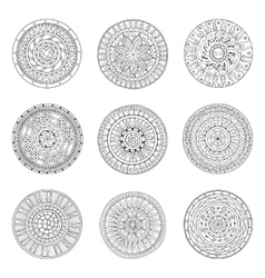 Round ornaments set of doodle mandalas vector