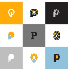 Set of letter p logo templates vector