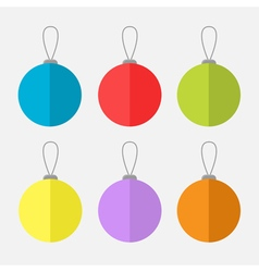 Christmas ball set white background isolated flat vector