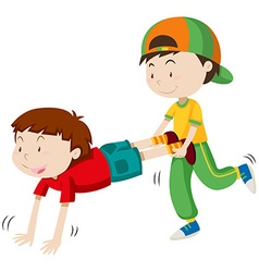 Two boys playing wheel barrow race vector