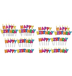 Colorful happy birthday text candles on sticks set vector
