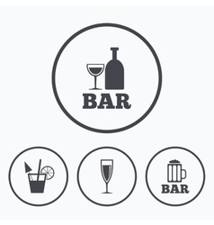 Bar or pub icons glass of beer and champagne vector