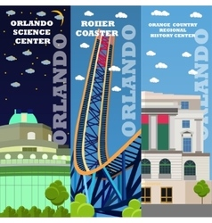 Orlando tourist landmark banners set vector
