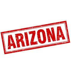 Arizona red square grunge stamp on white vector
