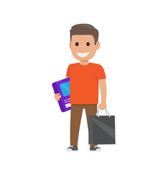 boy with box and bag shopping time vector image vector image