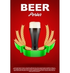 Brewery label with dark beer glass and malt vector