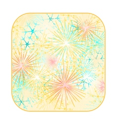 Button square new year fireworks colored vector