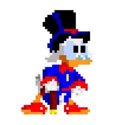 cartoon duck - pixel design vector image