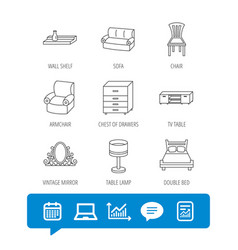 double bed table lamp and armchair icons vector image vector image