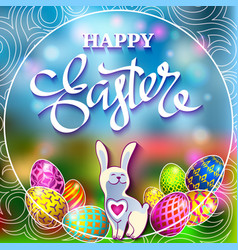 easter eggs and a rabbit on a green lawn with the vector image vector image