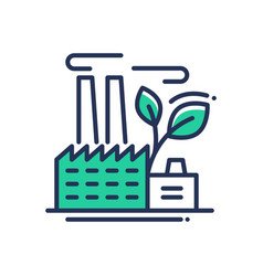 Ecology- modern single line icon vector