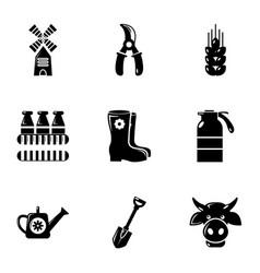 Farmer equipment icons set simple style vector