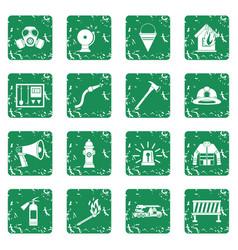 Fireman tools icons set grunge vector