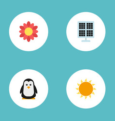 flat icons sun power sunshine blossom and other vector image