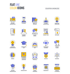 Flat line multicolor icons design-education and vector