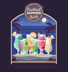 Flat style design of cocktail summer bar cocktail vector