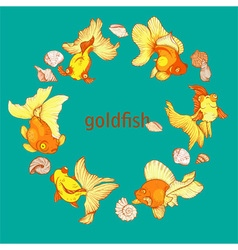 frame with fish and shells vector image