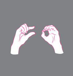 Gesture a little bit sign two female hands vector