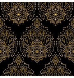 Gold lotus seamless pattern vector