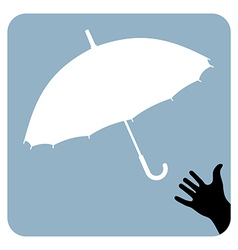 Hand trying to reach an umbrella vector image vector image