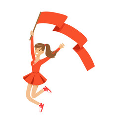 Happy football fan girl character in red jumping vector